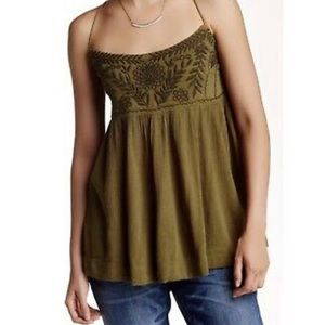 Free People olive green lace up back tank top